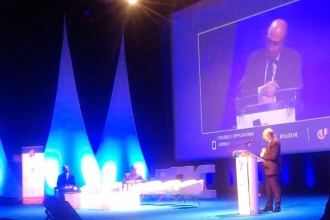 Gérard Collomb, ministre de l'Intérieur, a fait le déplacement au FIC 2018 à l'ouverture mardi 23 novembre en matinée. (crédit : D.F.)