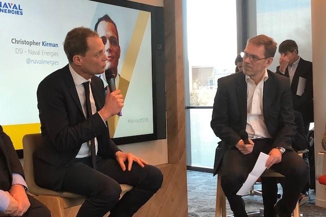 Christopher Kirman, DSI de Naval Energies (à gauche avec Laurent Schlosser de MS France), a retenu les services d'Azure pour conserver et analyser les données liées à la production de ses éoliennes et autres hydroliennnes. (Crédit S.L.)