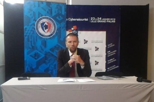 Guillaume Poupard, directeur général de l'ANSSI mardi 23 novembre sur le FIC pour un point presse. (crédit : D.F.)