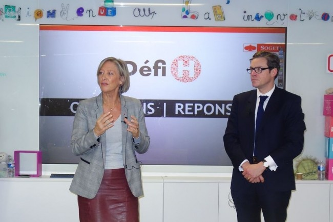 « Ce sont de beaux projets porteurs d'autonomie de la personne », a commenté Sophie Cluzel, secrétaire d'Etat aux personnes handicapées, lors du lancement du Défi H 2018, aux côtés d'Eric de Quatrebarbes, directeur exécutif de Sogeti France. (crédit : LMI/MG)