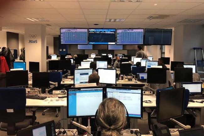 Le centre de commandes d'Atos à Barcelone pilote les services cloud et la sécurité des Jeux de Pyeongchang 24H/7. (Crédit S.L.)