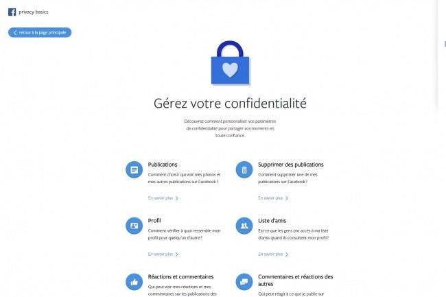 Le réseau social fondé par Mark Zuckerberg a mis en place une plate-forme dédiée à la confidentialité des données sur Facebook. (Crédit : Facebook)