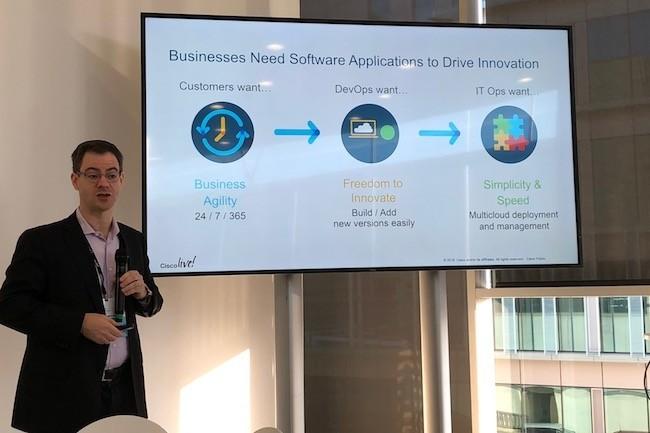 Kip Compton, vice-président en charge de Cloud Platform chez Cisco, a présenté à Barcelone le support prochain de Kubernetes. (Crédit S.L.)