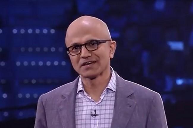« Nos investissements sur l'IoT, les données et les services IA à travers le cloud et à la périphérie nous mettent en position pour accélérer davantage cette croissance », assure Satya Nadella, CEO de Microsoft (ci-dessus sur Inspire 2017).