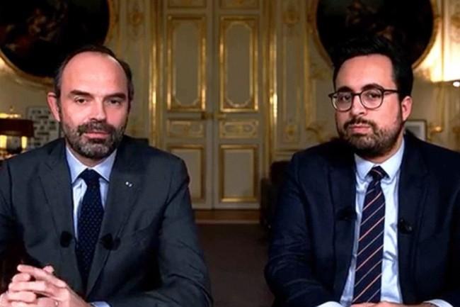 Le premier ministre Edouard Philippe (à gauche) et le secrétaire d'Etat chargé du Numérique Mounir Mahjoubi, ont précisé leur stratégie d'inclusion numérique, lors d'un Facebook Live (photo Caisse des dépôt).