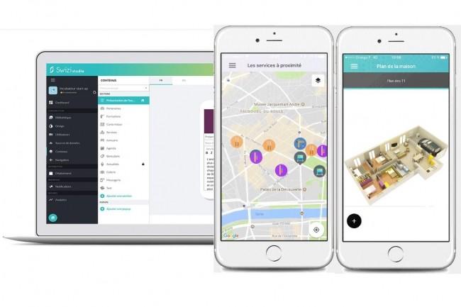 La plateforme Swizi lancée par Open fournit les outils pour générer et déployer une app mobile en deux semaines sur un app store. (crédit : Open)