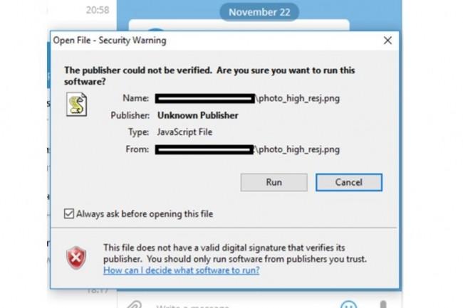 La vigilance est plus que jamais de mise lors de l'utilisation de Telegram sur poste de travail pour éviter d'être infecté par un malware. (crédit : Kaspersky)