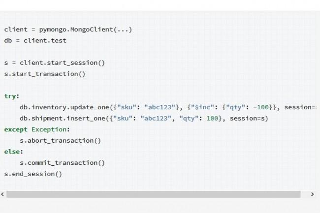 Pour illustrer l�apport des transactions multidocuments, MongoDB donne l'exemple d'une gestion de commande avec d�cr�mentation des articles livr�s dans le stock, ci-dessus en Python. (Cr�dit : MongoDB)