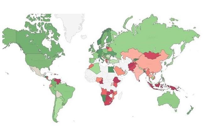 La carte ci-dessus affiche l'indice de risques des malwares selon le payx d'apr�s Chack Point. En vert, le risque est faible, en rouge, il est tr�s �lev�. (cr�dit : Check Point)