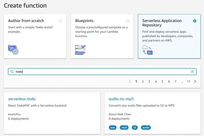 Le référentiel d'applications serverless ouvert par AWS est accessible depuis sa console Lambda. (crédit : AWS)