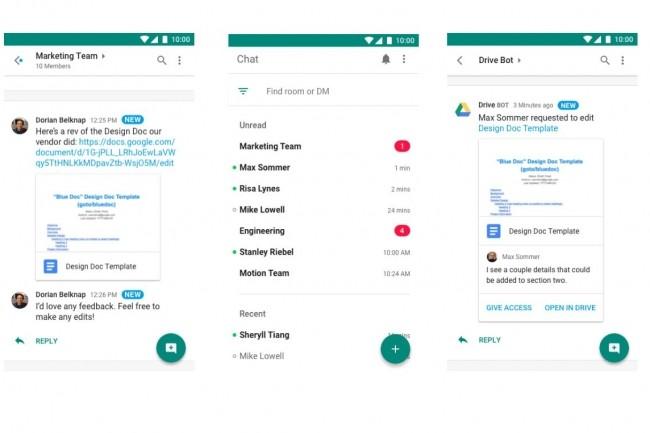 Avec sa messagerie instantanée Hangouts Chat, Google vient concurrencer Slack dans les entreprises. (Crédit : Google)