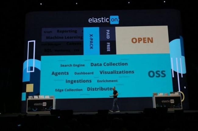 A l'origine du moteur de recherche Elasticsearch, le CEO d'Elastic Shay Banon cherche le bon équilibre entre open source et développements commerciaux, ci-dessus sur Elasticon 2018. (crédit : Elastic)