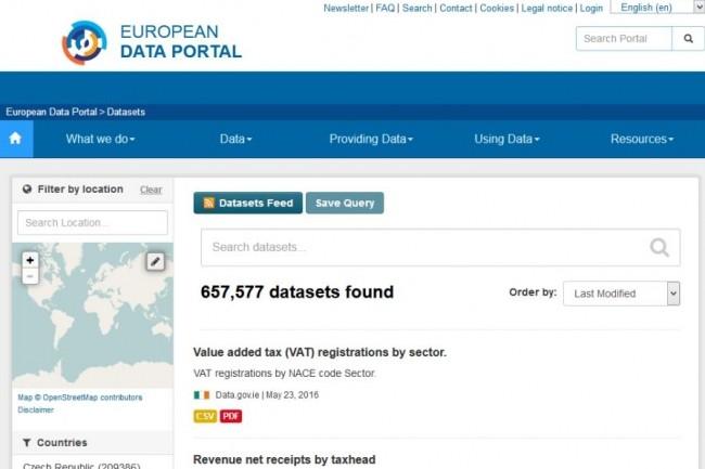 Le portail européen de données donne accès à près de 850 000 jeux de données répartis dans 73 catalogues. (crédit : Commission européenne)
