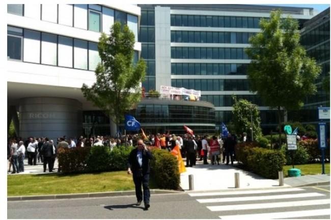 En juin 2013, des centaines de salariés de Ricoh France s'étaient mobilisés contre la suppression de plus de 300 postes  Crédit. D.R.