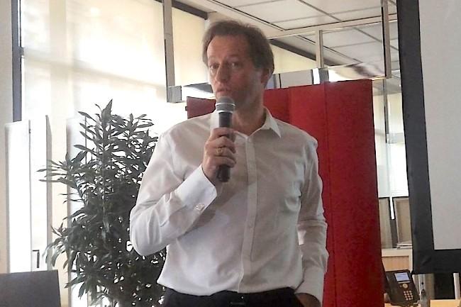 Jean-Noël de Galzain, fondateur et président du directoire de Wallix, le 29 mars 2018 au siège de sa société à Paris lors de la présentation des résultats annuels 2017 et de la stratégie à venir. (crédit : D.F.)