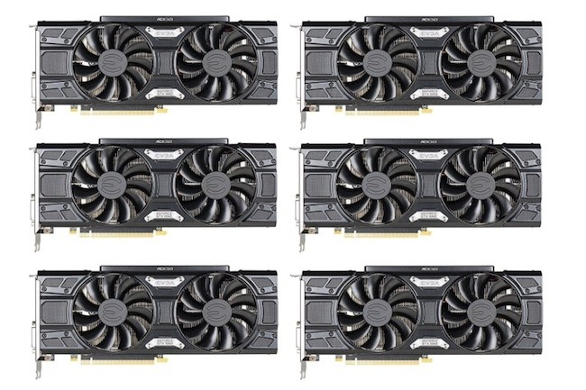 Le pack de 6 cartes EVGA GeForce GTX 1060 est facturé 2999$ HT chez Amazon US.