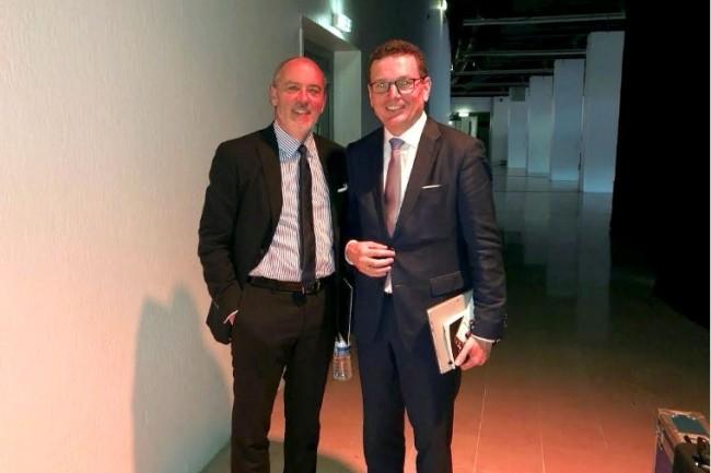 Stéphane Richard, PDG d'Orange, avec Helmut Reisinger qui vient d'être nommé directeur général d'OBS. (Crédit S.L.)