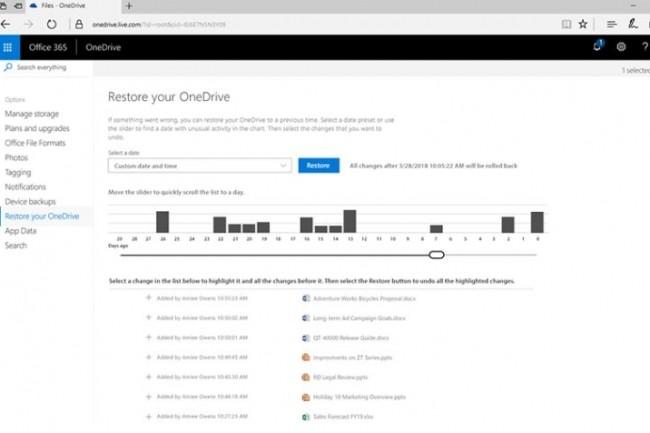 Microsoft a adapté sa capacité de restauration de fichiers jusque-là uniquement réservée au service OneDrive for Business aux abonnements Office 365 pour les particuliers. (crédit : D.R.)