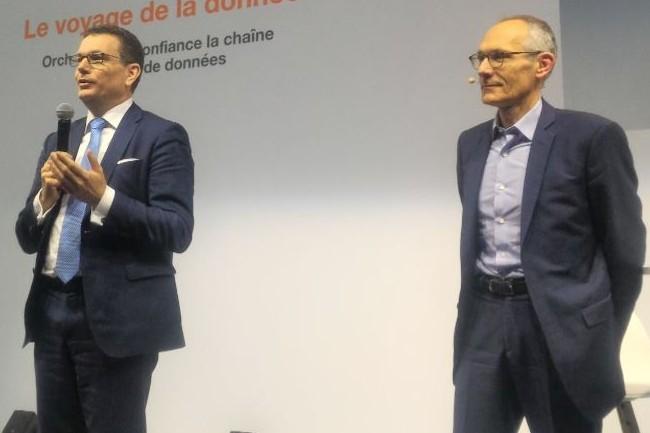 « Les clients sont le moteur de l'innovation d'Orange, OBS est l'entreprise peut être la plus mondialisée en France. Notre engagement c'est de mettre la  transformation digitale au centre de ce que l'on fait », a lancé le prochain DG d'OBS Helmut Reisinger (à gauche) ici au coté de Thierry Bonhomme (crédit : D.F.)
