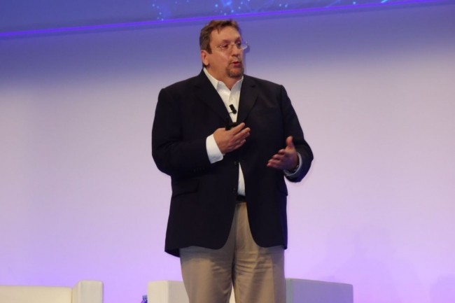 Mark Barrenechea, CEO et CTO d'OpenText, a insisté sur les fonctions de sécurité apportées par le pack d'évolution EP4 de la Content Suite Release 16. (Crédit : LMI/MG)