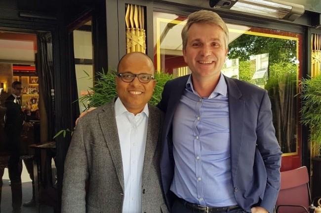 Bipul Sinha, CEO de Rubrik, et Dominique Fleury, country manager France, lors de notre dernière rencontre à Paris. (Crédit S.L.)