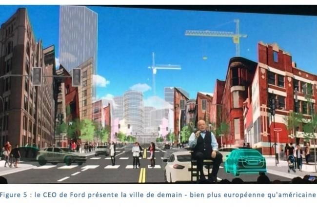 Le patron de Ford pr�sente sa vision urbaine : on ne savait pas que le constructeur automobile construisait des villes. (Cr�dit D.R.)