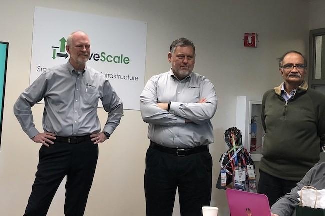 Gen Banman (CEO), Tom Lyon (chief scientist) et Satya Nishtala (CTO) à Sunnyvale (Californie) en décembre dernier lors de l'IT Press Tour infrastructures. (Crédit S.L.)