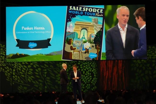 Parker Harris, co-fondateur et CTO de Salesforce.com, et Alexandre Dayon, président et responsable de la stratégie de l'éditeur californien, ce matin sur Salesforce World Tour Paris 2018. (Crédit : MG)