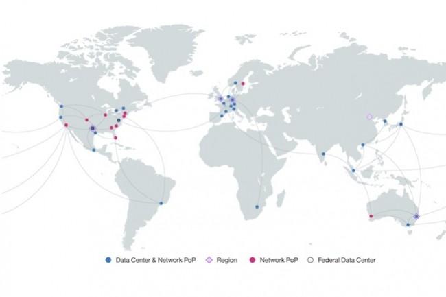 La carte des datacenters et points d'accès du cloud d'IBM dans le monde. (Crédit IBM)