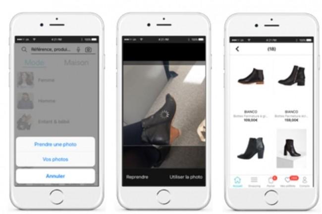 La fonction de reconnaissance visuelle permet de trouver sur l'app de La Redoute un article correspondant ou similaire à un autre que l'utilisateur a pris en photo. (crédit : La Redoute)