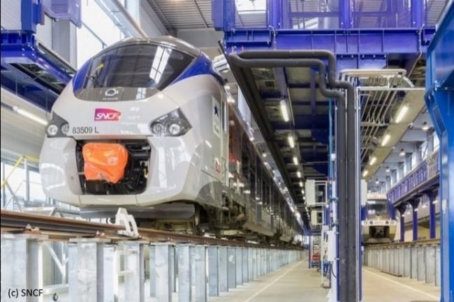 La maintenance au bon moment des essieux de train dans les technicentres repose sur une géolocalisation constante de chacun. (Crédit SNCF)