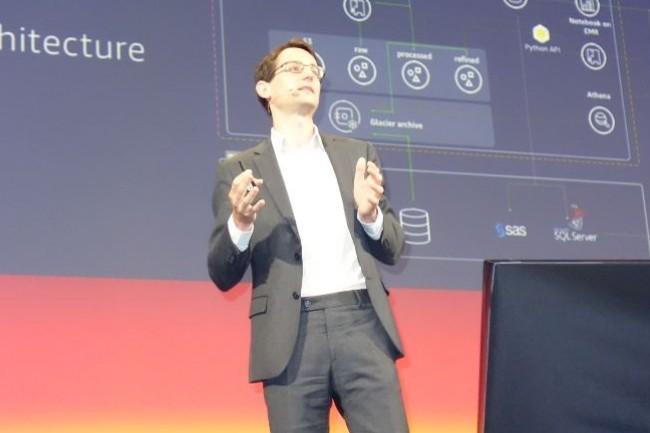 Nicolas Rivard, directeur de l'innovation d'Euronext, plateforme boursière de la zone Euro, sur AWS Summit 2018 Paris le 19 juin au Palais des Congrès. (Crédit : LMI/MG)