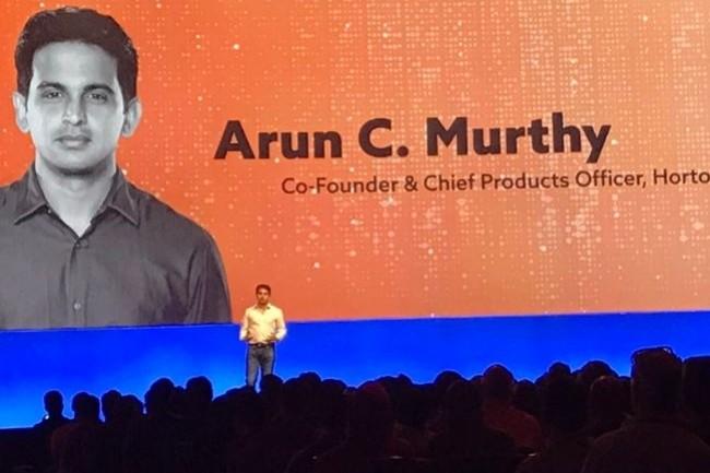 Sur DataWorks à San Jose, Arun Murthy, co-fondateur d'Hortonworks, a présenté les évolutions de la plateforme HDP dans sa version 3.0. (Crédit : Hortonworks)