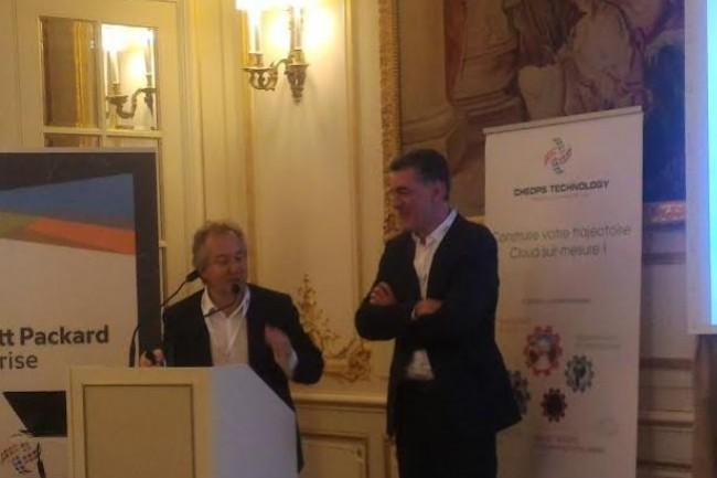Nicolas Leroy-Fleuriot, PDG de Cheops Technology (à gauche) et Alain Carpentier, vice-président des ventes monde d'Aruba-HPE réunis vendredi 22 juin à Paris pour lancer une solution WiFi packagée, Hyper WiFi. (crédit : D.F.)