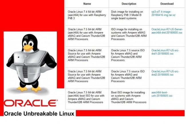 Unbreakable Enterprise Kernel, la distribution Linux d'Oracle, peut être téléchargée dans sa version pour ARMv8 64 bits. (Crédit : D.R.)