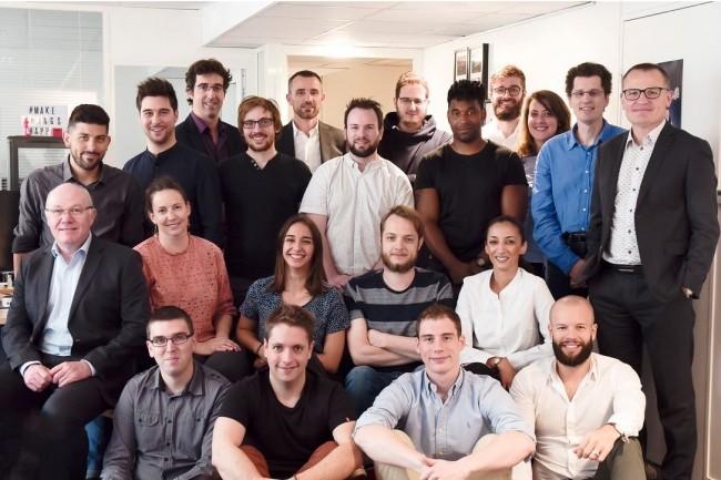 L'équipe de l'éditeur français d'iPaaS Moskitos, basé à Levallois-Perret, co-fondé par Bertrand Masson, Maxime Labelle, debouts à droite, et Jérémie Devillard. (crédit : D.R.)