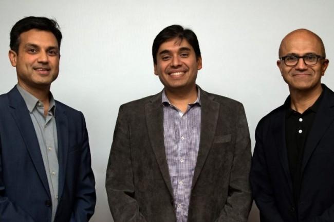 Des dirigeants de Microsoft et InMobi réunis à l'occasion de l'annonce de leur partenariat avec, de gauche à droite, Anant Maheshwari (président Microsoft Inde), Naveen Tewari (fondateur et CEO d'InMobi) et Satya Nadella (CEO de Microsoft). (Crédit : D.R.)