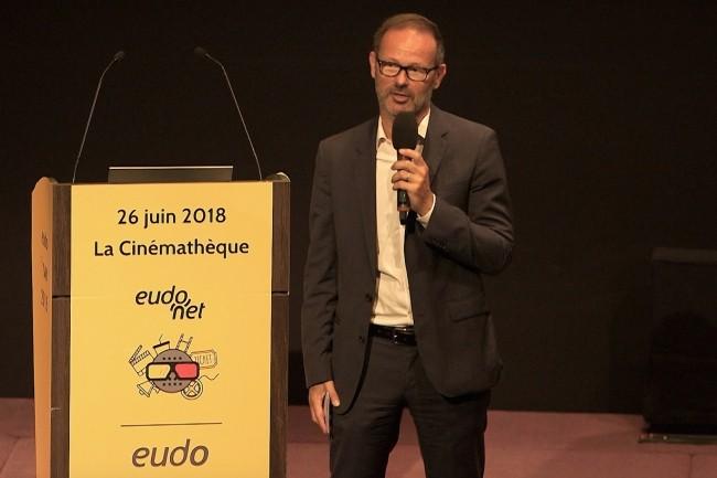 Antoine Henry, ancien DG de Sage France, a pris il y a un an la direction d'Eudonet qu'il a racheté avec Quilvest. Ci-dessus sur Eudo I-Day 2018 le 26 juin à Paris. (Crédit : Eudonet)