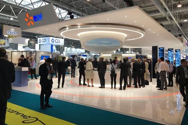 EDF, Dassault Systèmes et Capgemini ont annoncé leur partenariat lors du World Nuclear Exhibition qui se tenait au parc des expositions de Villepinte, le 27 juin. (Crédit : @maincy771 sur Twitter)
