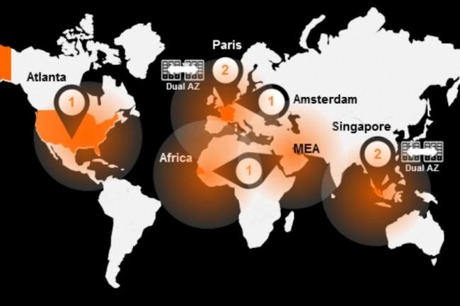 OBS dispose de 6 datacenters opérationnels hébergés chez Equinix dont 3 en Europe (2 en France à Saint-Denis et Pantin et 1 à Amsterdam), 2 au Moyen-Orient (Singapour) et 1 aux Etats-Unis (Atlanta). Un prochain datacenter doit être ouvert en Afrique. (crédit : OBS)
