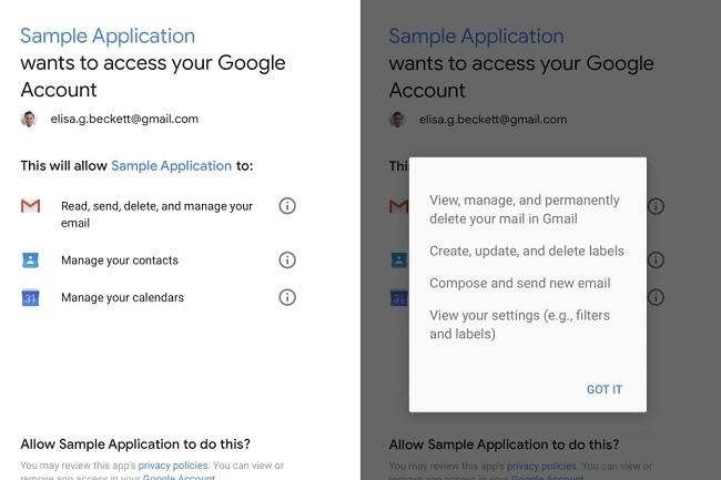 Dans son communiqué de réponse aux révélations du Wall Street Journal, Google rappelle aux utilisateurs comment voir et gérer les applications qui ont accès à leurs données. (Crédit : Google)