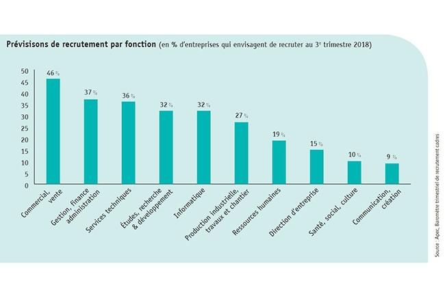 Les informaticiens représentent 32 % des profils les plus recherchés. En hausse comparée au trimestre dernier. (Crédit : Apec)