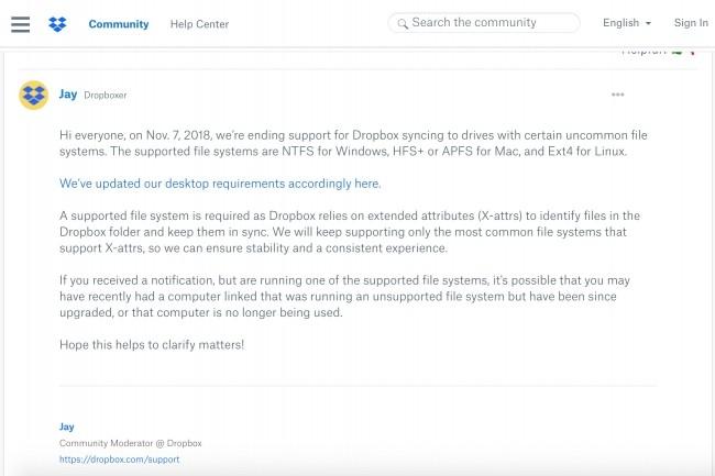 Les utilisateurs de l'app desktop de Dropbox recourant à certains systèmes de fichiers chiffrés sous Linux n'accéderont bientôt plus à la synchronisation de leurs fichiers. (Crédit : Dropbox)