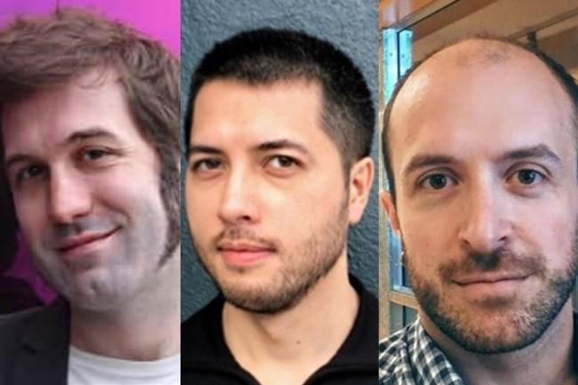 Jeremy Bruestle, chef scientifique de Vertex.AI, Choong Ng, CEO de la start-up et Brian Retford, son CTO. Les trois co-fondateurs de Vertex.AI vont désormais occuper des postes au sein d'Intel Movidius. (Crédits : Linkedin, Crunchbase)