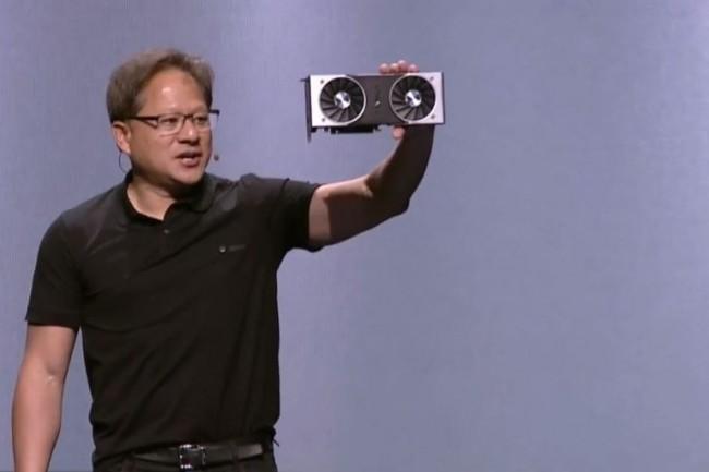Le CEO de Nvidia Jensen Huang présente la carte graphique GeForce RTX sur la Gamescom de Cologne. (Crédit : Nvidia)