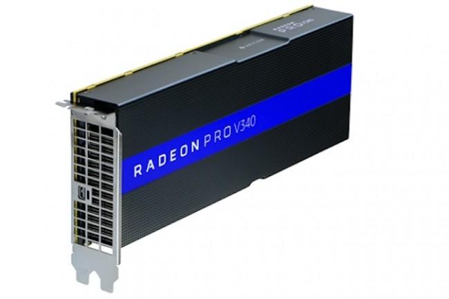 Avec saRadeonProV340, AMD propose du calcul déporté pour accélérer l'affichage et les calculs 3D sur les postes de travailVDI. (Crédit : AMD)