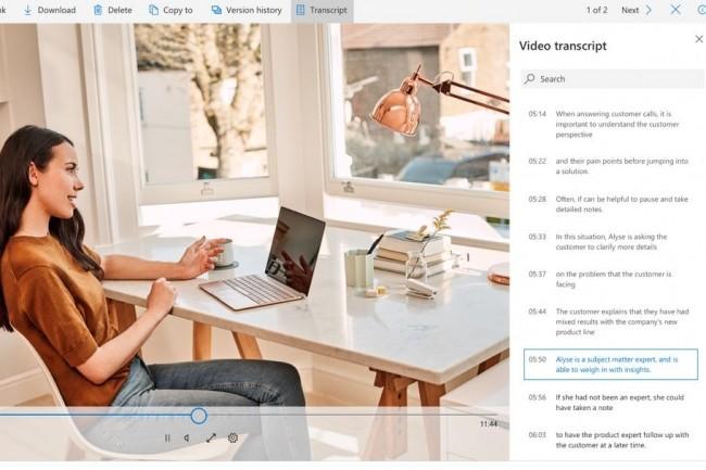Les utilisateurs de OneDrive Entreprise et de SharePoint vont bientôt bénéficier des transcriptions audios et vidéos automatiques. (Crédit : Microsoft)