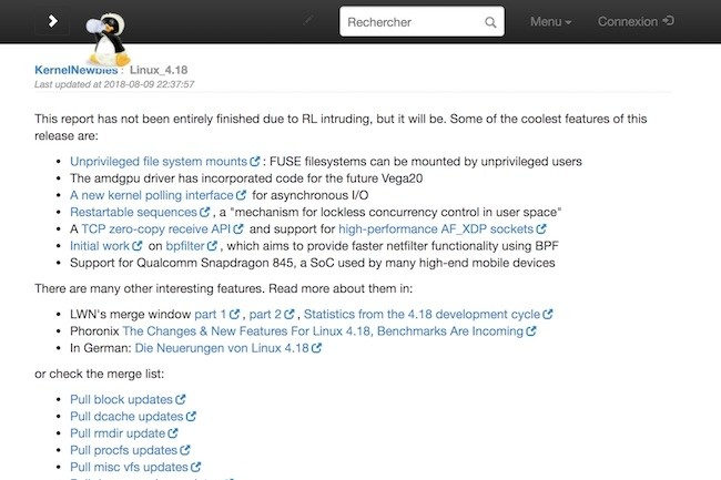 La release 4.18 du noyau Linux apporte plusieurs changements significatifs. (Crédit D.R.)
