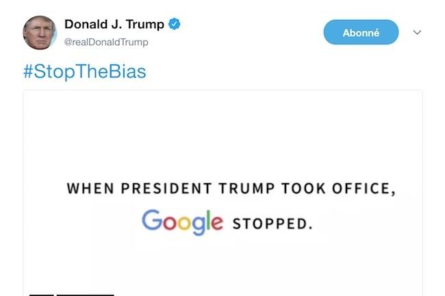 Donald Trump est parti en guerre contre Google News qui remonterait des résultats biaisés selon la grille d'analyse du président américain.