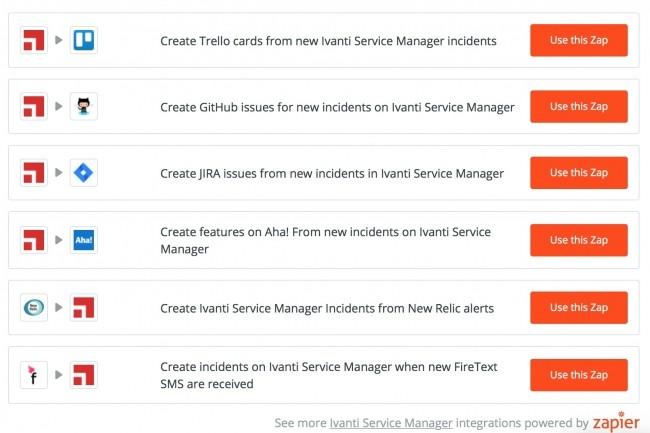 Zapier proposait déjà de son côté différents workflows interapplicatifs pour Ivanti Service Manager. Ce dernier l'intègre maintenant directement. (Crédit : Zapier)